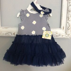 NWT 9 Months Dress Navy Strip Daisy Tutu Popover